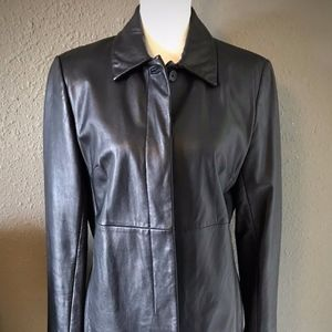 Beautiful Black Leather Jacket by Express ~ Size 1